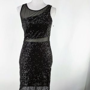 FOREVER 21 BLACK SEQUIN CUT OUT DRESS MEDIUM